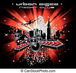 摘要, 背景, 音樂, 迪斯科, 城市
