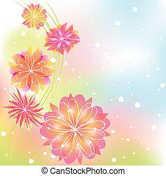 摘要, 花, 春天, 鮮艷