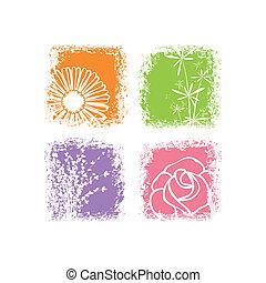摘要, 花, 背景, 鮮艷, 白色