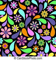 摘要, 花, 黑色的背景