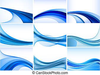 摘要, 藍色的背景, 集合, 矢量