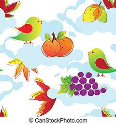 摘要, 鳥, 鮮艷, seamless