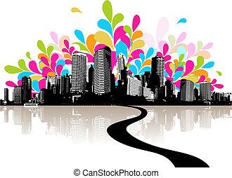 摘要, city., 插圖