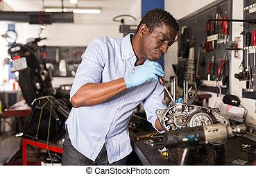 摩托車, 工人, 美國人, 車庫, 引擎, 修理, afro