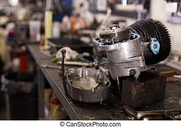 摩托車, 拆卸, 引擎, 車間, 桌子