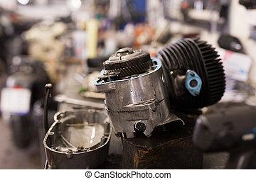 摩托車, 桌子, 拆卸, 車間, 引擎