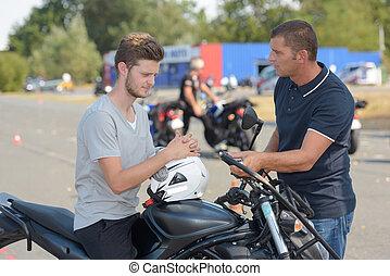 摩托車, 路線, 訓練, 人, 年輕