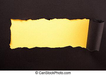 撕破, 黃色, 紙, 黑色的背景, 剝去, 水平