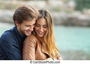 擁抱, 摯愛, 夫婦, 海灘