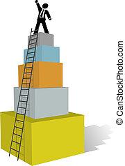 攀登, 事務, 梯子, 人, 頂部, 成功