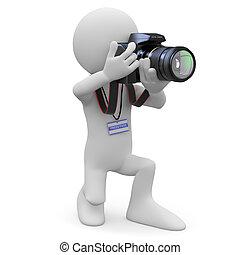 攝影師, 他的, 照像機, slr