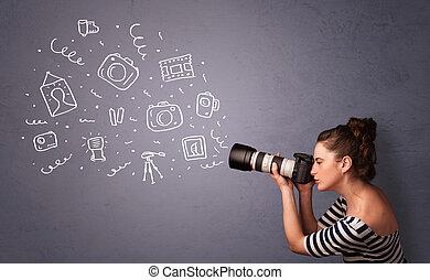 攝影師, 女孩, 射擊, 攝影, 圖象