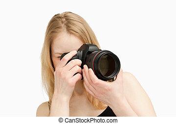 攝影, single-lens, 照像機, 婦女, 拿, 反射