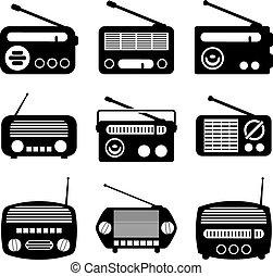 收音机, 矢量, 集合, 圖象