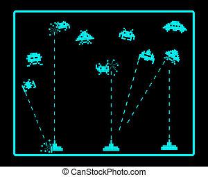 攻擊, invaders, 空間