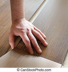 放置, 人, 地板, laminate