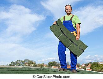 放, 瀝青, 工人, 屋頂帶狀 疹
