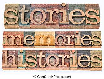 故事, 記憶, histories