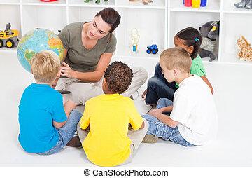 教學, 孩子, 老師, 幼儿園