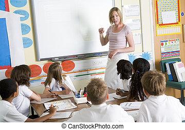 教學, 學校 組, 低級, 老師