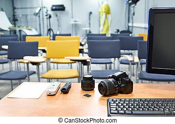 教室, 學校, 地方, 攝影, 老師