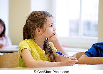 教室, 學校, 是, 鋼筆, 女孩, 厭煩