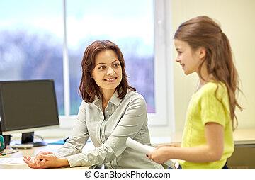 教室, 學校, 筆記本, 女孩, 老師