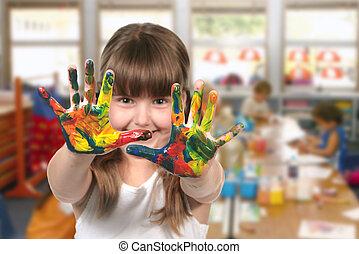 教室, 幼儿園, 畫