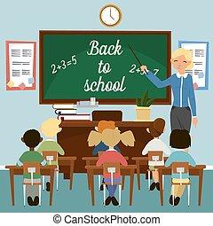 教室, schoolers, 教育, school., classrom, concept., blackboard., 背, 插圖, 老師, 矢量, interior., children., class.