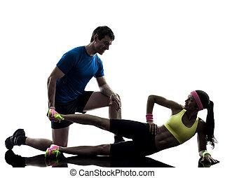 教練, 黑色半面畫像, 測驗, 行使, 婦女, 健身, 人