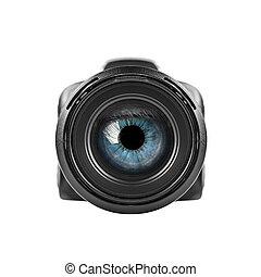 數碼相机, 藍色, 透過, 眼睛, lens., 看