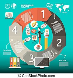 文件夾, 布局, 商務圖標, -, 地圖, 矢量, 樣板, infographics, 世界, 人