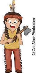 斧, 美國人, 插圖, 男孩, 孩子, 印第安語, 石頭