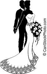 新娘, 婚禮, 黑色半面畫像, 新郎