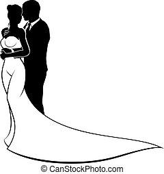 新娘, 新郎, 黑色半面畫像, 婚禮