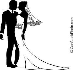 新娘, 新郎, 黑色半面畫像