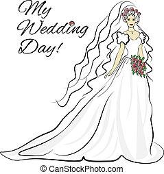 新娘, 黑色半面畫像, 卡片, 邀請