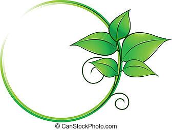 新鮮, 框架, 綠葉