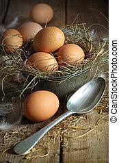 新鮮, 老, 錫, 布朗, 容器, 勺, 蛋