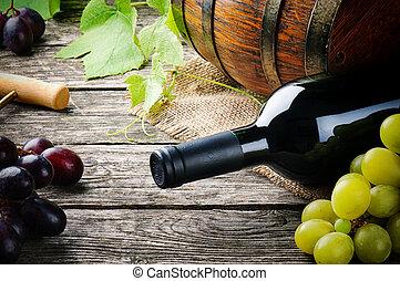 新鮮, 葡萄, 紅的瓶子, 酒