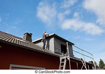 新, 屋頂, 屋面工, 工作, 屋頂窗
