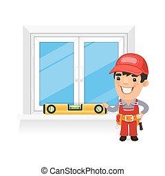 新, 窗口, 木匠, 檢查