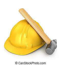 新, 錘子, 黃色, 鋼盔