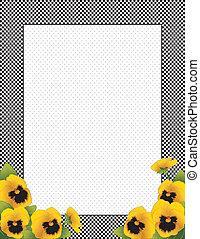 方格花布, 花, 金, 三色紫羅蘭, 框架