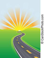 旅行, 天空, 早晨, 光明的前途, 高速公路