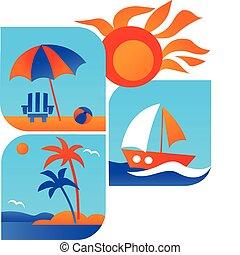 旅行, 海灘, 夏天, -1, 圖象, 海