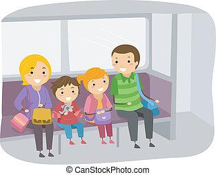 旅行, 訓練, stickman, 家庭