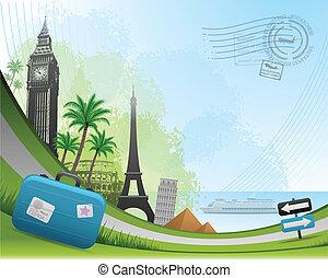 旅行, 郵政, 卡片, 背景