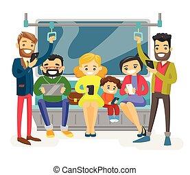 旅行, transport., 公眾, 高加索人, 人們