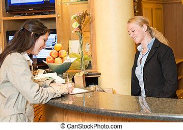 旅館, 婦女, 年輕, 招待會